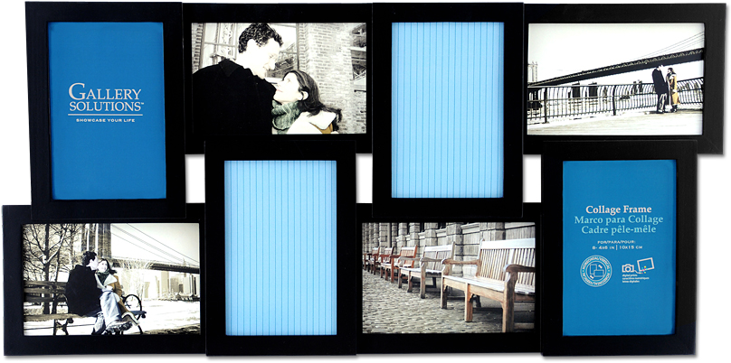 gallery photo collage frame black 8 openings